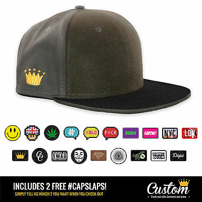 Custom Crowns™ Olive Snapback Cap - INCLUDES 2 x FREE Changeable Patches!