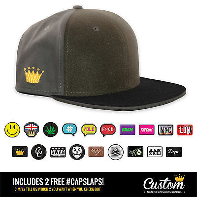 Custom Crowns™ Olive Baseball 6 Panel Snapback Cap - INCLUDES 2 x FREE Patches!