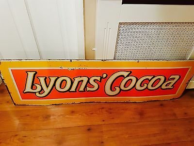 Vintage ORIGINAL enamel LYONS COCOA advertising sign old antique collectable