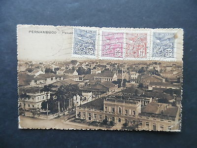 1938 Pernambuco Brazil Birdseye View Postcard Used to US
