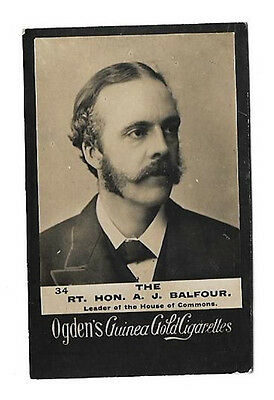 Ogdens - Guinea Gold - Card #34 - The Rt. Hon. A. J. Balfour - Good To Very Good