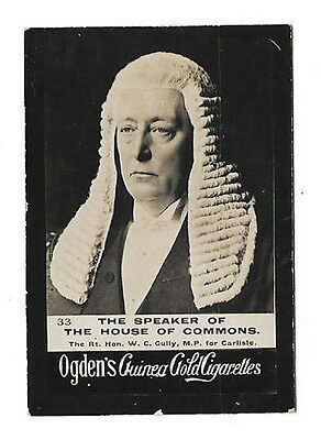 Ogdens - Guinea Gold - Card #33 - The Speaker Of The House Of Commons