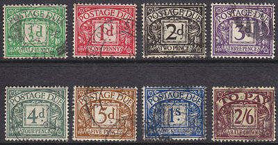 1937/8 Kgvi Postage Dues Set Of 8 Sgd27/d34 Nice/fine Used