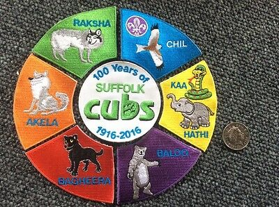 New Large 100 Years Of CUB SCOUT CENTENARY SCOUTING 7 BADGE SET 2016 -Akela