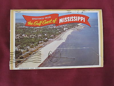 GREETINGS FROM GULF COAST OF MISSISSIPPI Vintage POSTCARD BOOKLET rare 1970's