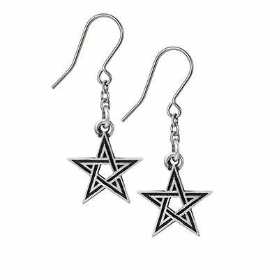 Alchemy Gothic Black Star Pewter Pair of Earrings BRAND NEW