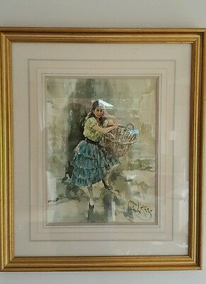 Gordon King Original- Painting of Alexis - Mounted and framed