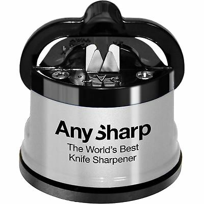 AnySharp Essentials Diamond Precision Knife Sharpener with Power Grip - Silver