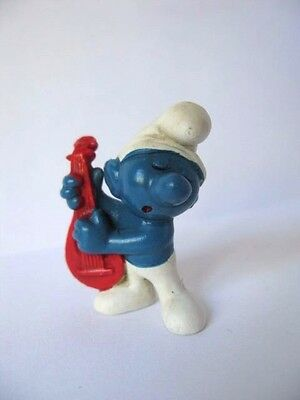 Red Lute Smurf - Peyo Schleich - Puffo Liuto Rosso Vintage