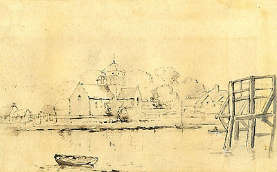 19th Century Pen and Ink Drawing - Riverside Town