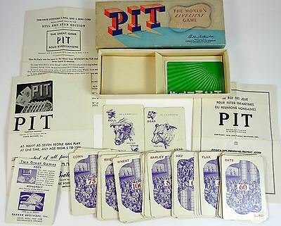 Vintage PIT Card Came Parker Brothers Complete with Bull & Bear Cards