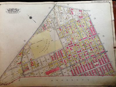 1915 Ridgewood E. Williamsburg Ahawith Linden Hill Cemetery Queens Ny Atlas Map
