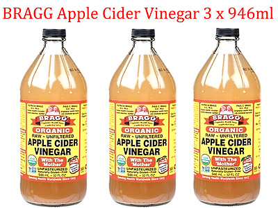 3 x 946ml BRAGG Organic Raw Unfiltered APPLE CIDER VINEGAR (with the 'Mother')