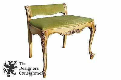 Rare Antique French Provincial Carved Vanity Bench Stool Green Fabric Piano