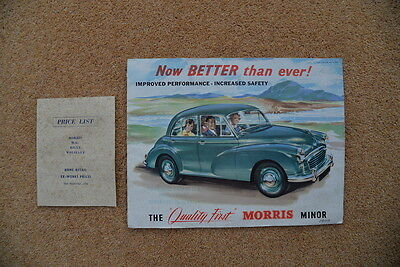 THE QUALITY FIRST MORRIS MINOR 1000  BROCHURE   20th November  1956