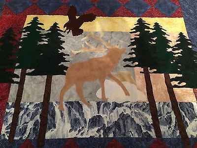 New Handmade Elk Quilt ~ Wall Hanging~ Lap Quilt~ machine applique & Quilted!