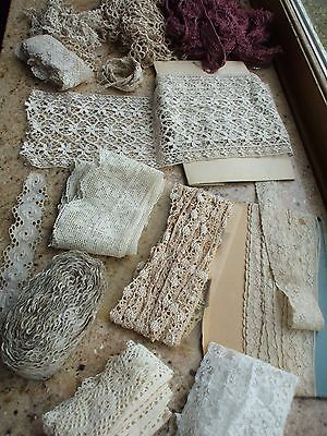 Vintage Antique Lace Crochet Fringe Trim Burgundy Fringe Eyelet Embroidery Lot