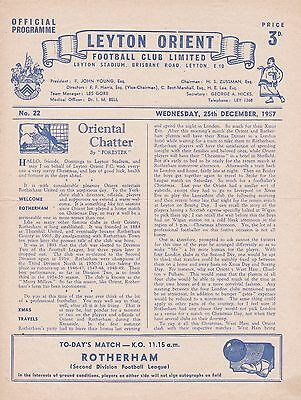 LEYTON ORIENT v ROTHERHAM UNITED ~ LAST CHRISTMAS DAY GAME ~ 25 DECEMBER 1957
