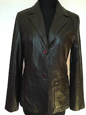 Ladies Vintage Retro Brown Soft Leather Blazer/jacket Size 8/10 (Small) By Zara