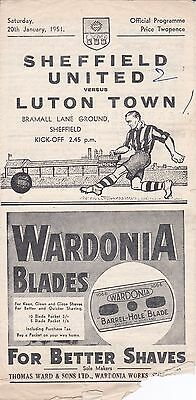 SHEFFIELD UNITED v LUTON TOWN ~ 20 JANUARY 1951
