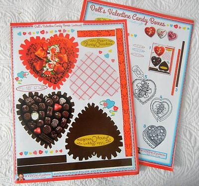 """Valentine Candy Boxes - Full color Pattern to Make for 15-18"""" Dolls"""