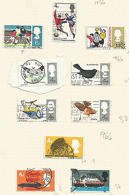 GB QEII 1966 LOT OF 10 stamps, incl. british birds, world cup 1966, engineering