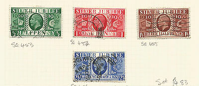 Great Britain 1935 Jubilee Set Four Values  Sg 453-456 Used