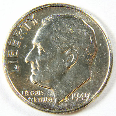 1949 P Brilliant Uncirculated Silver Roosevelt Dime - 90% Silver