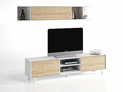 Mueble salon TV modulo bajo + estante estilo nordico blanco y roble economico