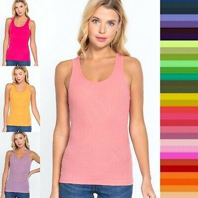 Women Racer Back Ribbed Tank Top Soft Stretchy Cotton Basic Sleeveless Tee #9121