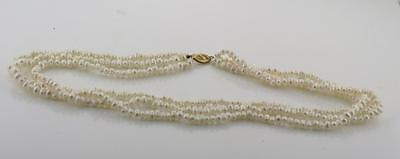 Natural Freshwater Rice Pearl Necklace 3 Strand 14K Yellow Gold Filigree Clasp