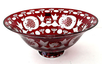"""Egermann Czech Republic Crystal Ruby Red Art Glass 9.5"""" Etched Bowl"""