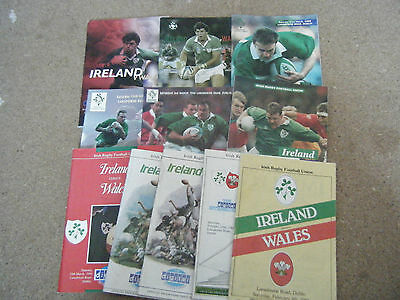11  IRELAND RFC  HOME PROGRAMMES  v  WALES AND ENGLAND 1984 - 2006  VGC LISTED