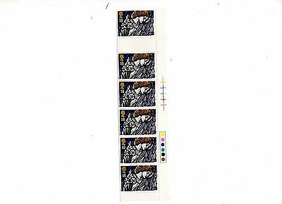 Unused postage stamps Xmas  1992  strip o f6 18p stamps with colour code