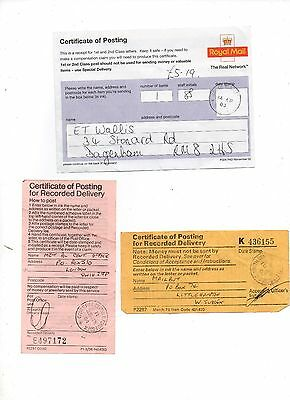 Postal oddments 3 x Certifcate of posting for recorded delivery  various years