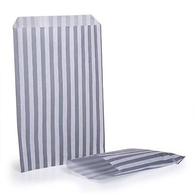"1000 Candy Stripe Sweet Paper Loot Bags Grey 10""x14"" Birthday Party Favour Gift"