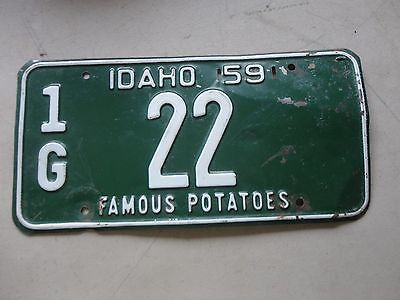 1959 Idaho license plate 1G  22 low number Gem County