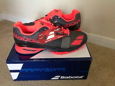 New BABOLAT Men`s Jet All Court Tennis Shoes Gray and Red, US 12.5