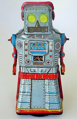 60's Ko. Japan Atom Robot Tin Lithographed Friction Crank Mystery Action 6.5""