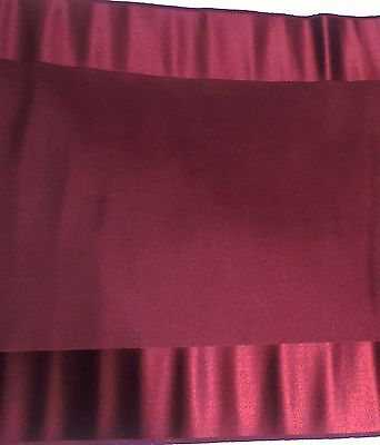"""3+YDS Antique Vintage Maroon Fabric French Doll Dress Fashion LG Piece 14"""" WIDE"""