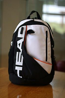 HEAD Racquetball Bag BACKPACK WHITE BLACK ORANGE in color