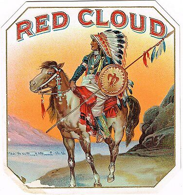 Cigar Box Label Vintage Outer Chromolithography Red Cloud Native American Damage