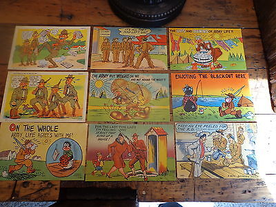 Lot of 9 Old Vintage 1940's WWII Military Comic POSTCARDS