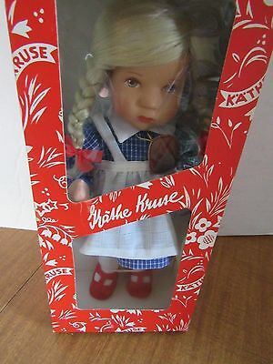 "Kathe Kruse 10"" Cloth Doll Plastic Head Blonde Braided Hair Made In Germany"
