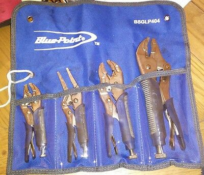 Blue Point by Snap On Locking Plier 4 piece set Pliers Mole Grips Hardly Used