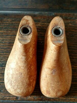 A Pair Of Cobbler's Wooden Baby Shoe Forms Size 2