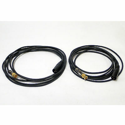LOT OF 2 PHANTOM PREMIUM 12FT HI-FLEX AUDIO CABLE, BNC MALE / XLR MALE 3-PIN NoS