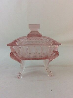 Pink Glass Piano Dish and Lid Candy Trinket New in Box