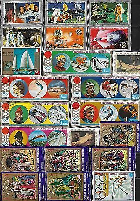 Ecuatorial Guinea Lot of 43 Different Stamps 1970 - 1972 Mostly Used