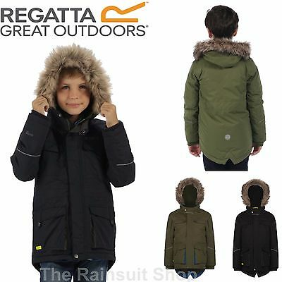 Regatta Boys Capton Parka  Waterproof Breathable  Fur Hooded Jacket  Kids Coat